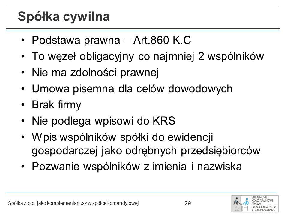 Spółka cywilna Podstawa prawna – Art.860 K.C