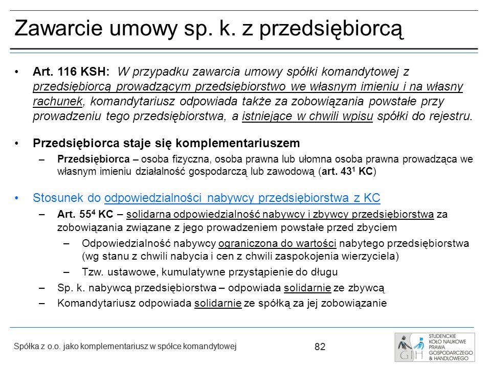 Zawarcie umowy sp. k. z przedsiębiorcą