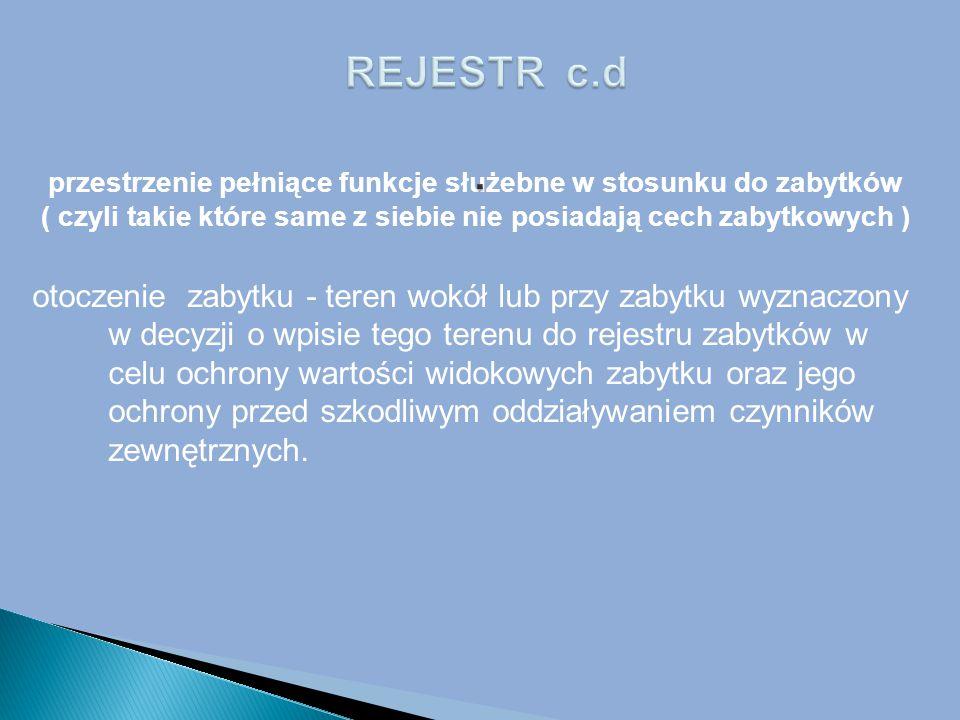 REJESTR c.d . przestrzenie pełniące funkcje służebne w stosunku do zabytków ( czyli takie które same z siebie nie posiadają cech zabytkowych )