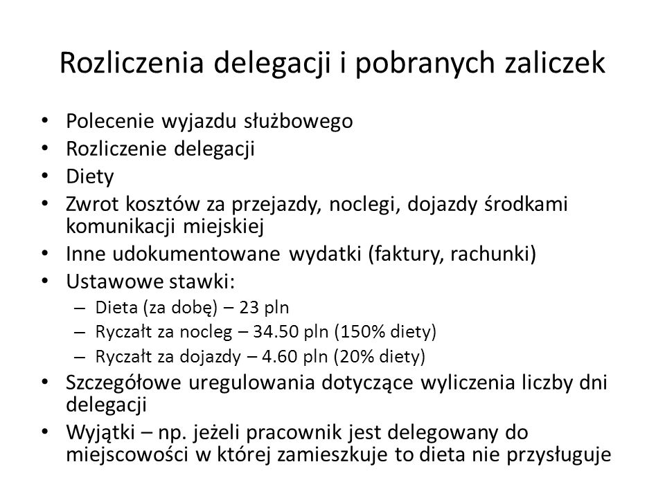 Rozliczenia delegacji i pobranych zaliczek