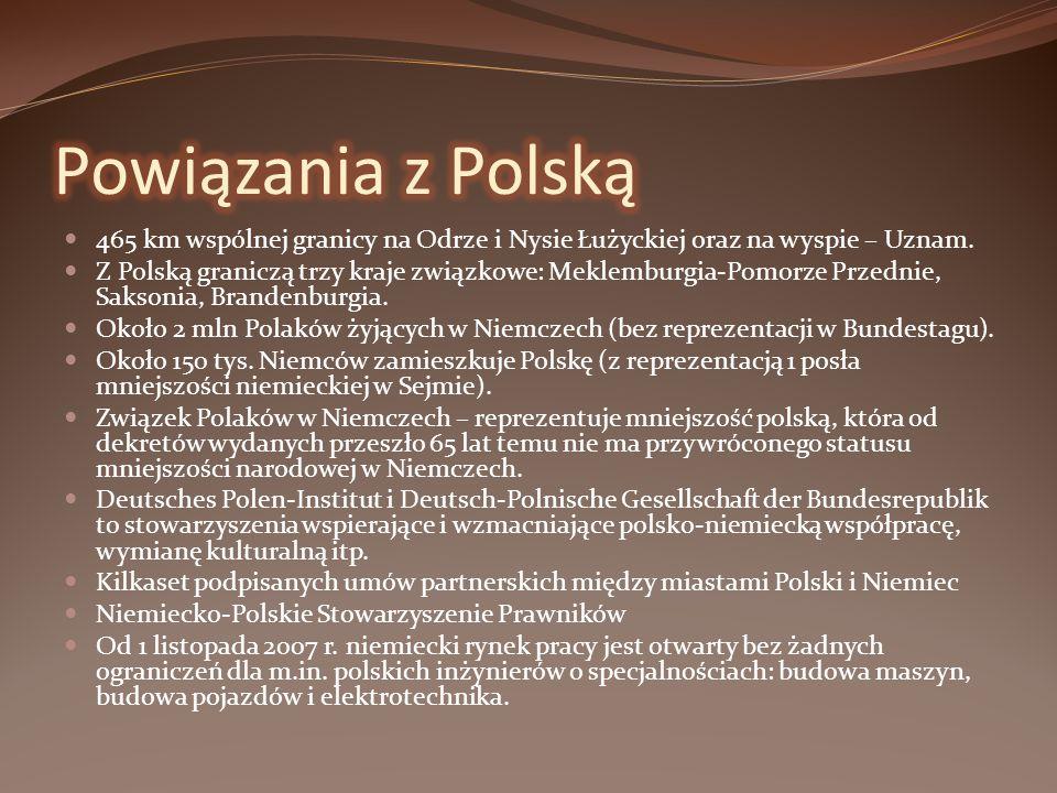 Powiązania z Polską 465 km wspólnej granicy na Odrze i Nysie Łużyckiej oraz na wyspie – Uznam.