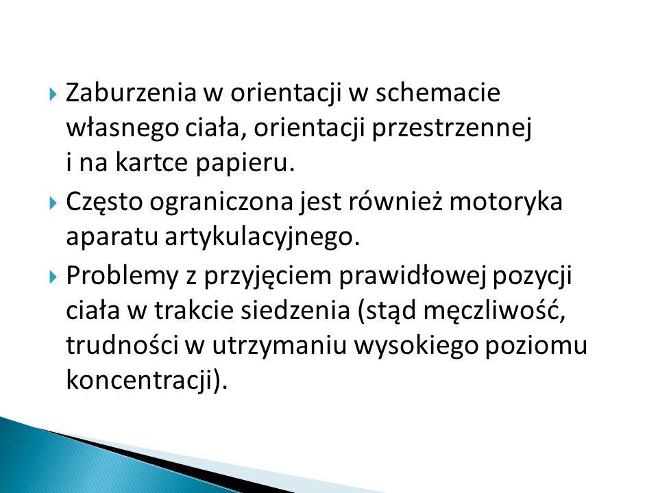 Zaburzenia w orientacji w schemacie własnego ciała, orientacji przestrzennej i na kartce papieru.