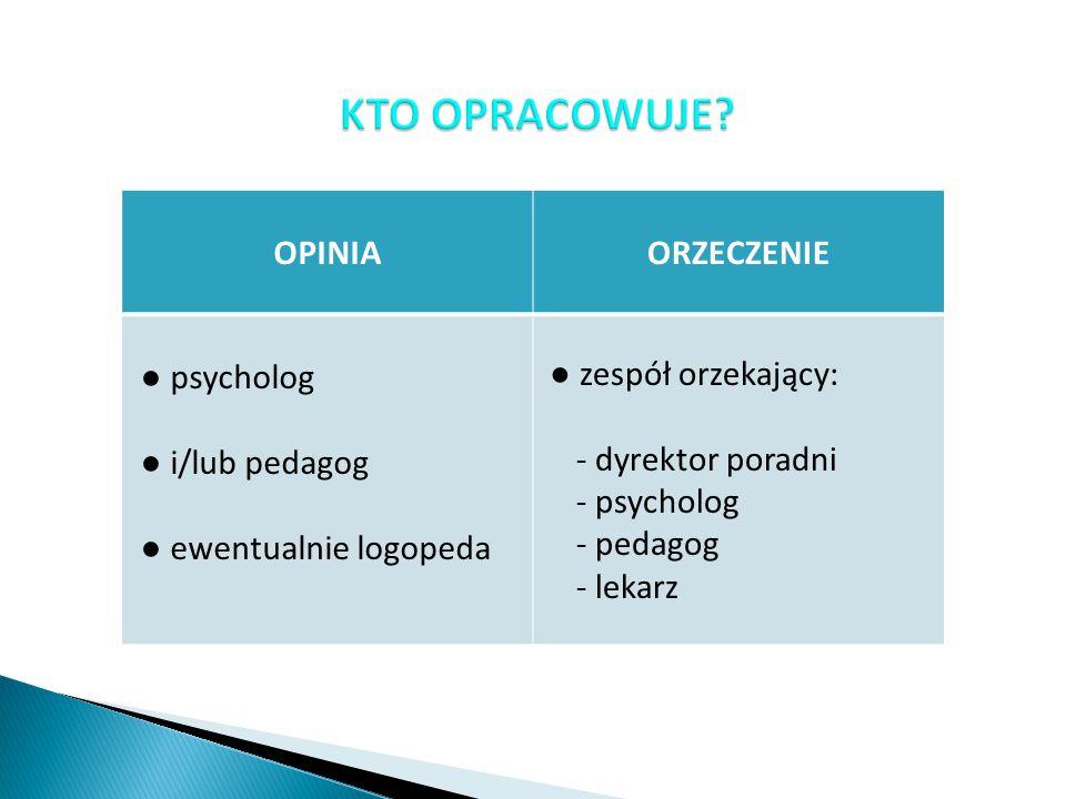 KTO OPRACOWUJE OPINIA ORZECZENIE ● psycholog ● i/lub pedagog