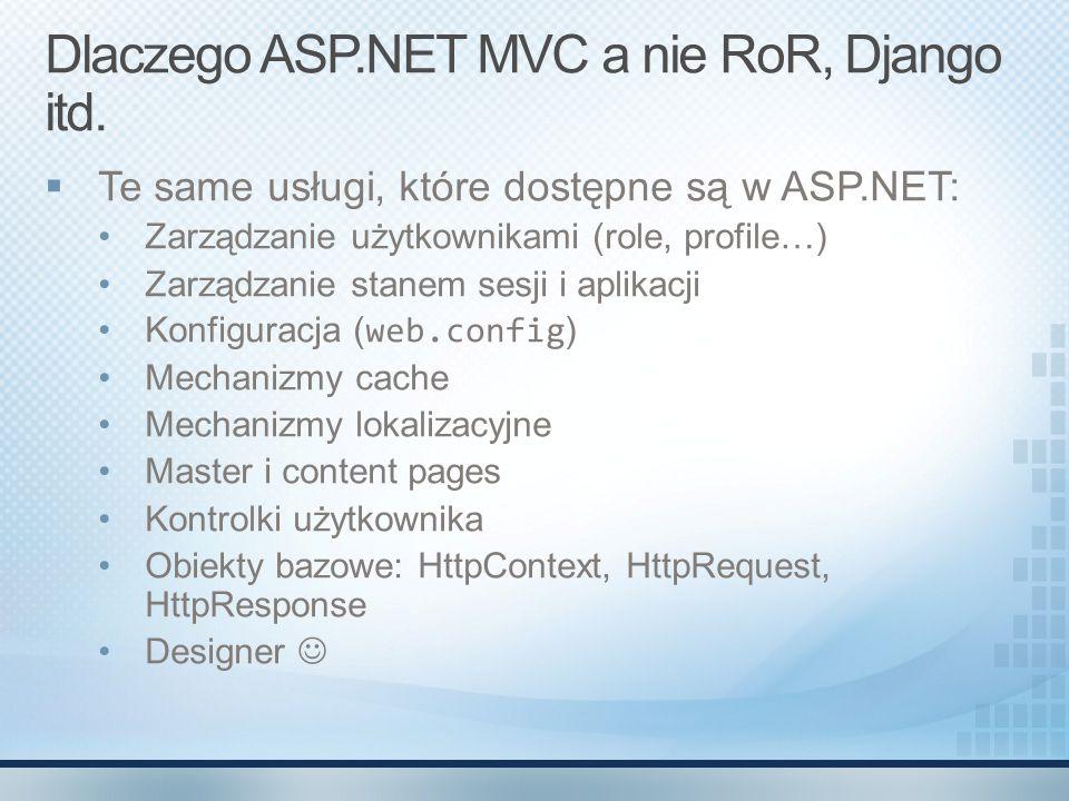Dlaczego ASP.NET MVC a nie RoR, Django itd.