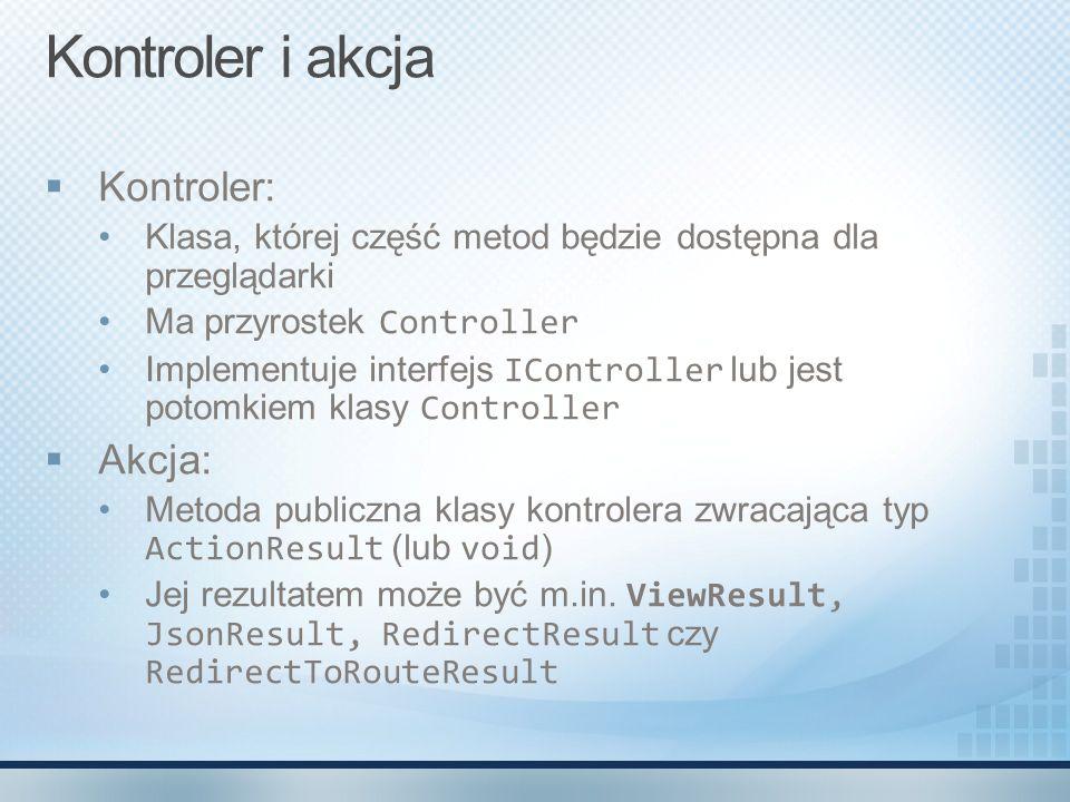 Kontroler i akcja Kontroler: Akcja: