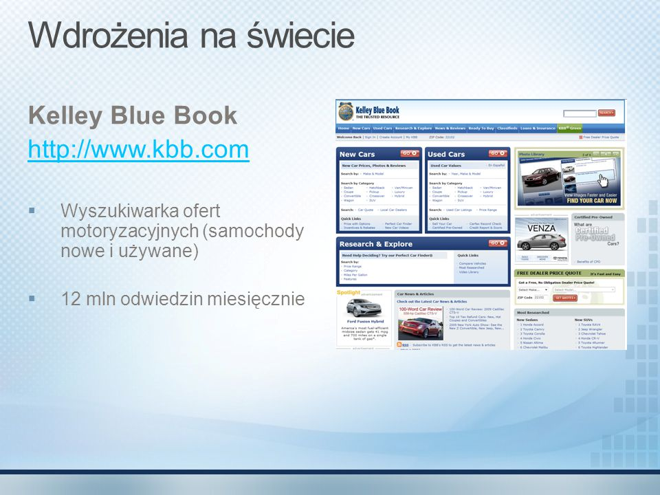 Wdrożenia na świecie Kelley Blue Book http://www.kbb.com