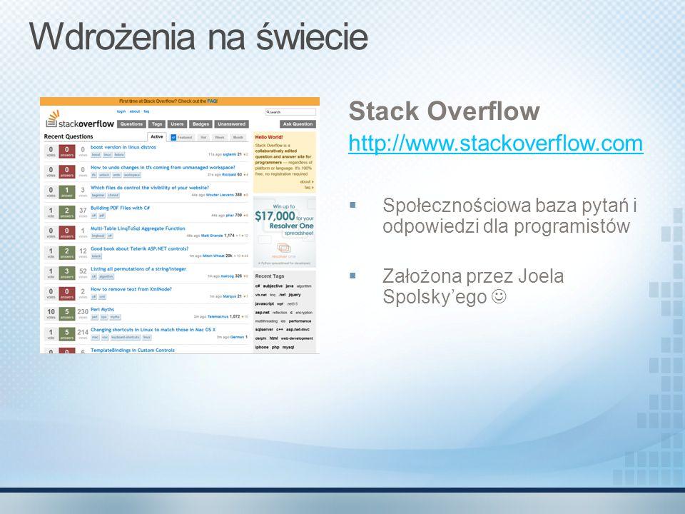 Wdrożenia na świecie Stack Overflow http://www.stackoverflow.com