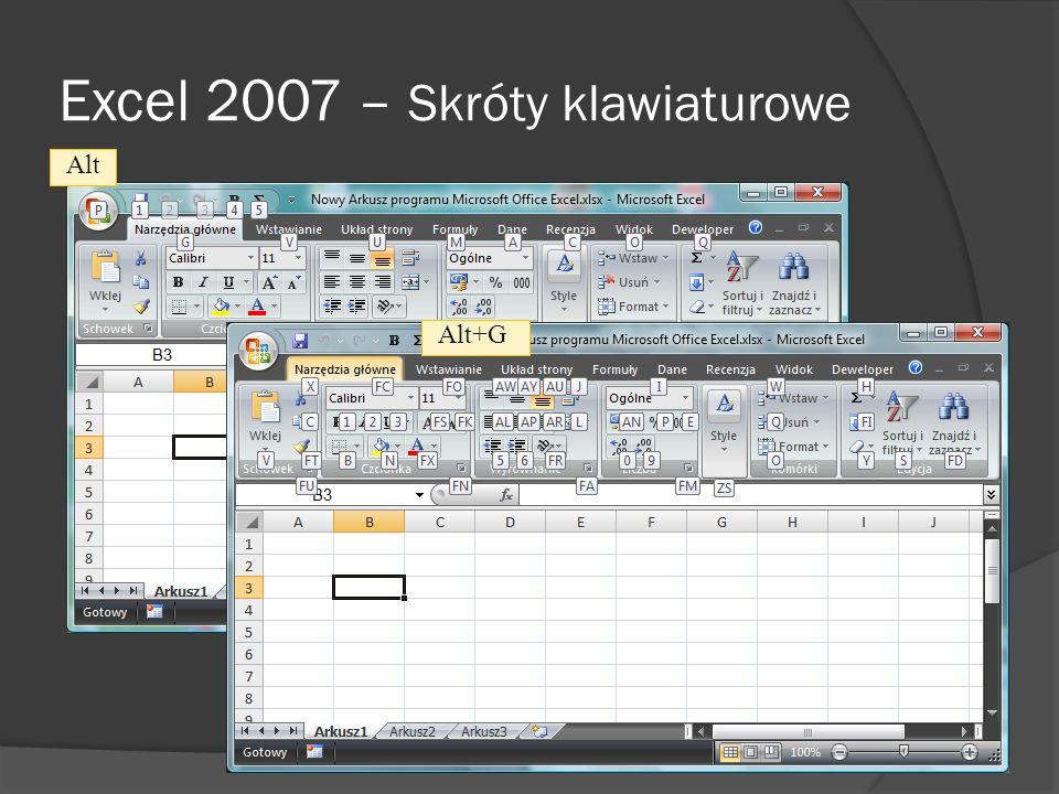 Excel 2007 – Skróty klawiaturowe