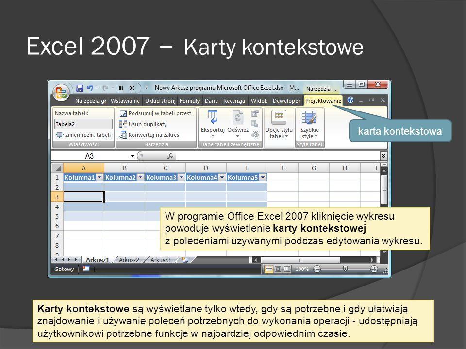 Excel 2007 – Karty kontekstowe