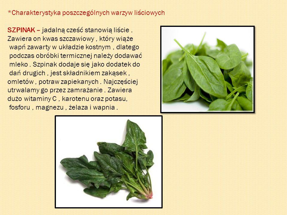 *Charakterystyka poszczególnych warzyw liściowych