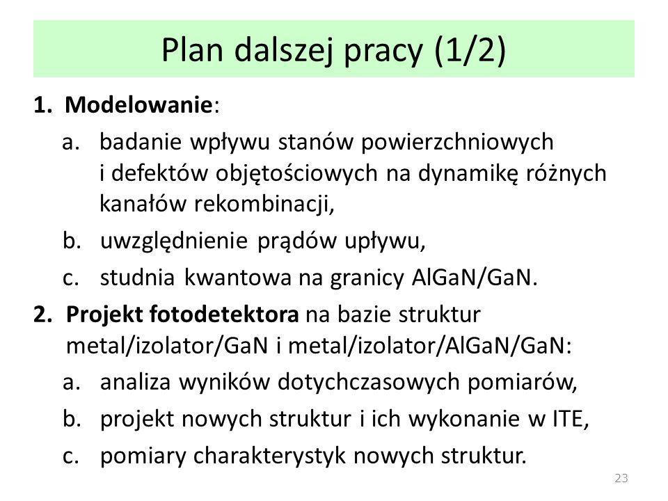 Plan dalszej pracy (1/2) Modelowanie:
