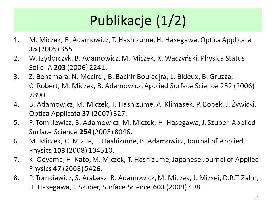 Publikacje (1/2) M. Miczek, B. Adamowicz, T. Hashizume, H. Hasegawa, Optica Applicata 35 (2005) 355.