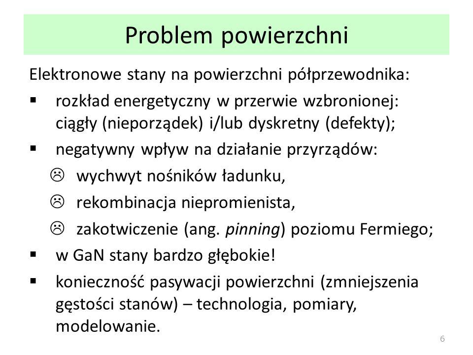 Problem powierzchni Elektronowe stany na powierzchni półprzewodnika: