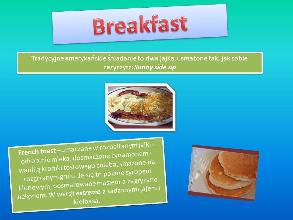 Breakfast Tradycyjne amerykańskie śniadanie to dwa jajka, usmażone tak, jak sobie zażyczysz: Sunny side up.