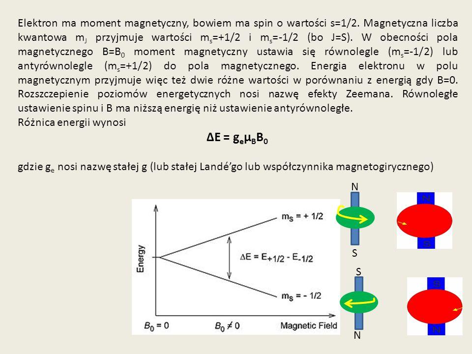 Elektron ma moment magnetyczny, bowiem ma spin o wartości s=1/2