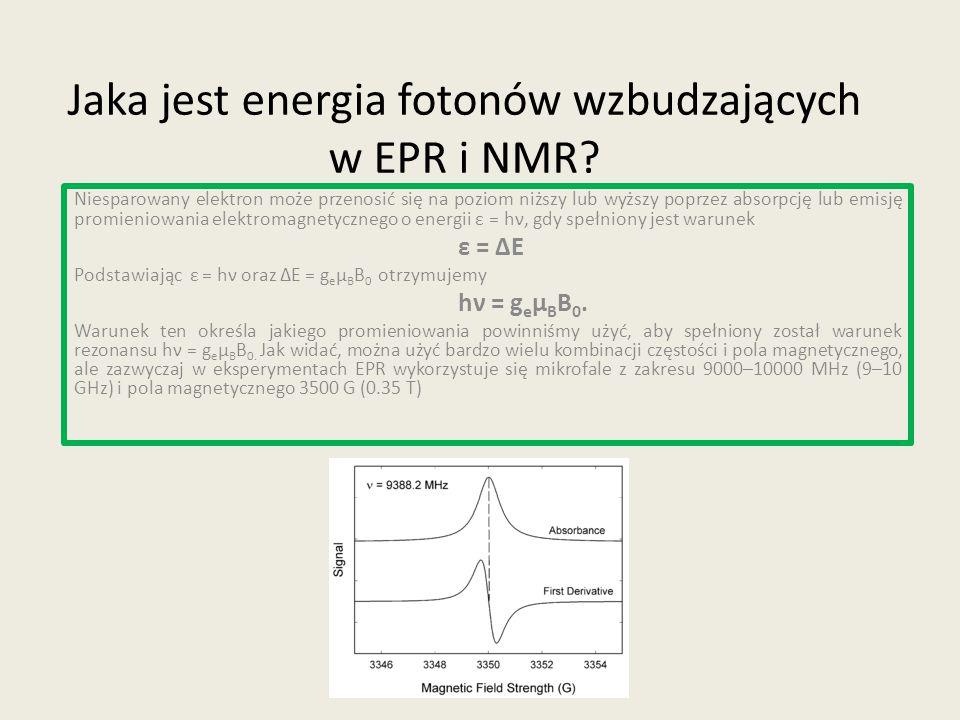 Jaka jest energia fotonów wzbudzających w EPR i NMR