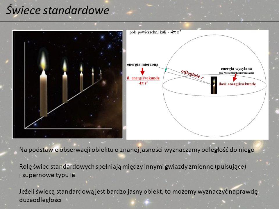 Świece standardowe Na podstawie obserwacji obiektu o znanej jasności wyznaczamy odległość do niego.