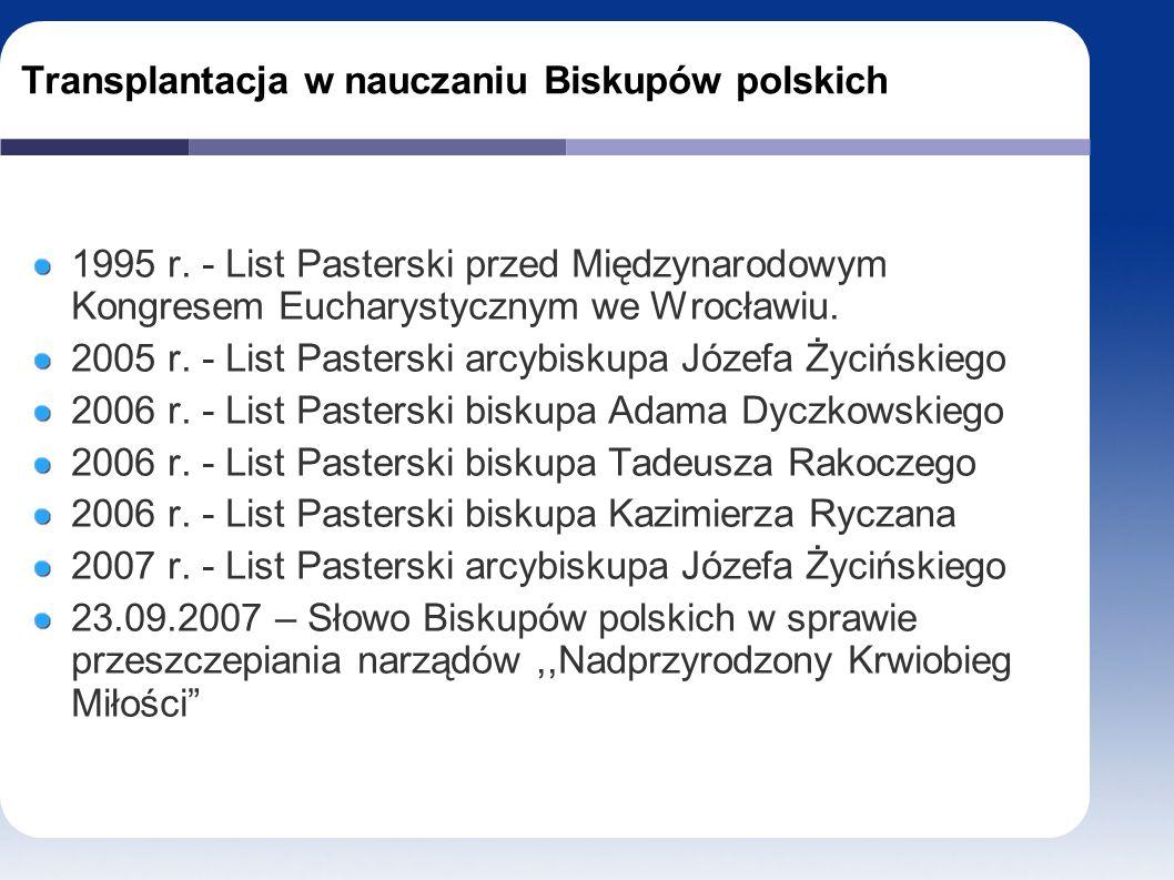 Transplantacja w nauczaniu Biskupów polskich