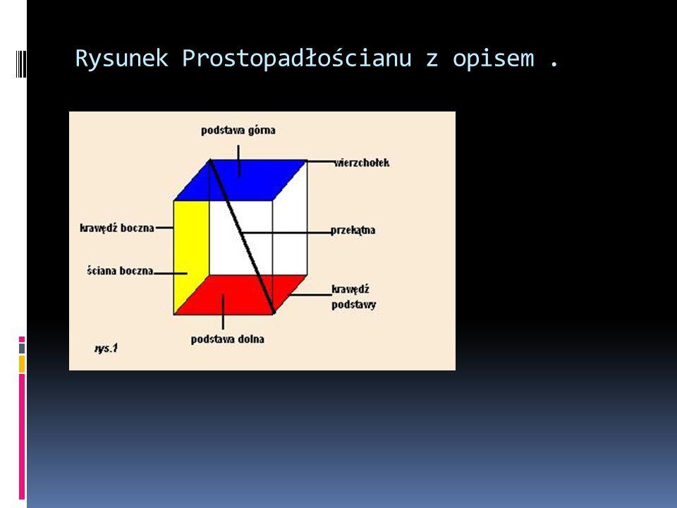 Rysunek Prostopadłościanu z opisem .