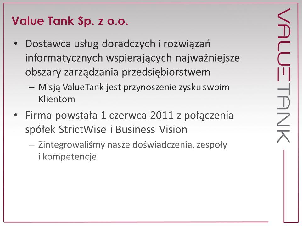 Value Tank Sp. z o.o. Dostawca usług doradczych i rozwiązań informatycznych wspierających najważniejsze obszary zarządzania przedsiębiorstwem.