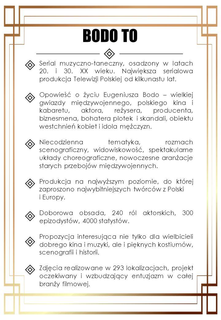 BODO TO Serial muzyczno-taneczny, osadzony w latach 20. i 30. XX wieku. Największa serialowa produkcja Telewizji Polskiej od kilkunastu lat.
