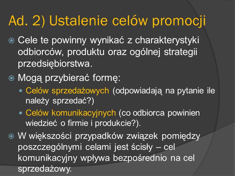 Ad. 2) Ustalenie celów promocji