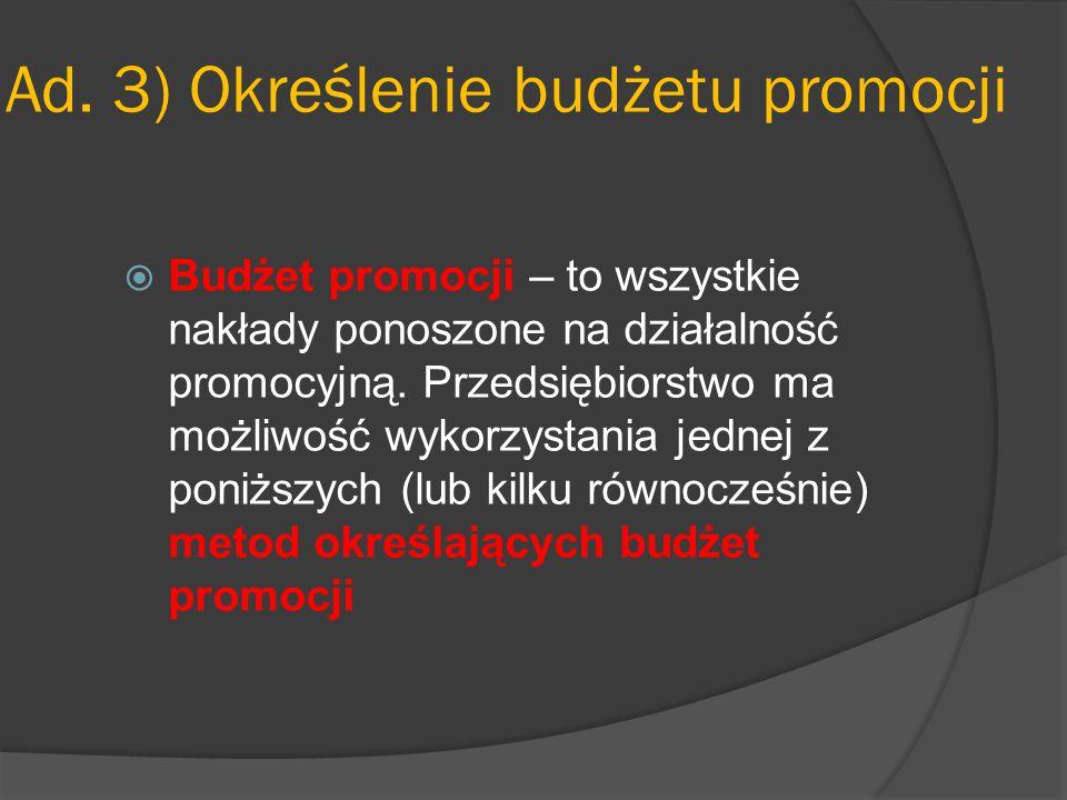 Ad. 3) Określenie budżetu promocji