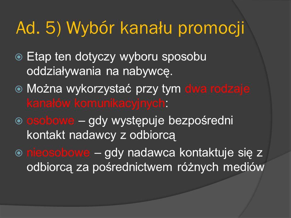 Ad. 5) Wybór kanału promocji