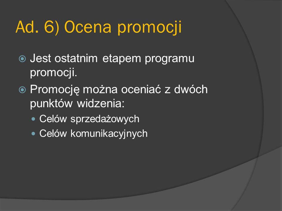 Ad. 6) Ocena promocji Jest ostatnim etapem programu promocji.