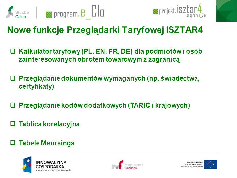 Nowe funkcje Przeglądarki Taryfowej ISZTAR4
