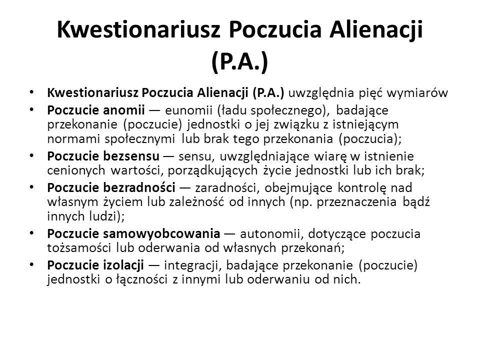 Kwestionariusz Poczucia Alienacji (P.A.)