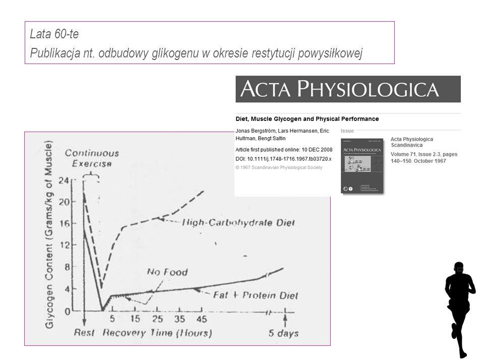 Lata 60-te Publikacja nt. odbudowy glikogenu w okresie restytucji powysiłkowej