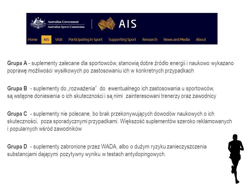 Grupa A - suplementy zalecane dla sportowców, stanowią dobre źródło energii i naukowo wykazano poprawę możliwości wysiłkowych po zastosowaniu ich w konkretnych przypadkach