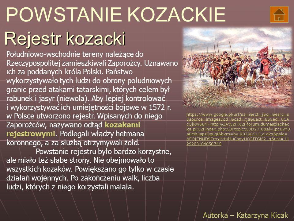 POWSTANIE KOZACKIE Rejestr kozacki