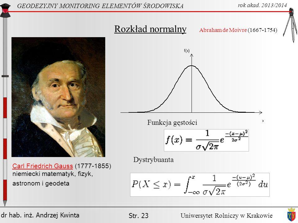 Rozkład normalny Funkcja gęstości Dystrybuanta