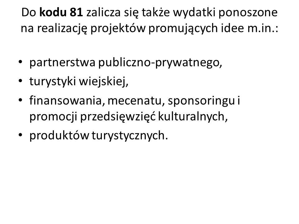 Do kodu 81 zalicza się także wydatki ponoszone na realizację projektów promujących idee m.in.:
