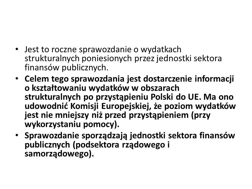 Jest to roczne sprawozdanie o wydatkach strukturalnych poniesionych przez jednostki sektora finansów publicznych.