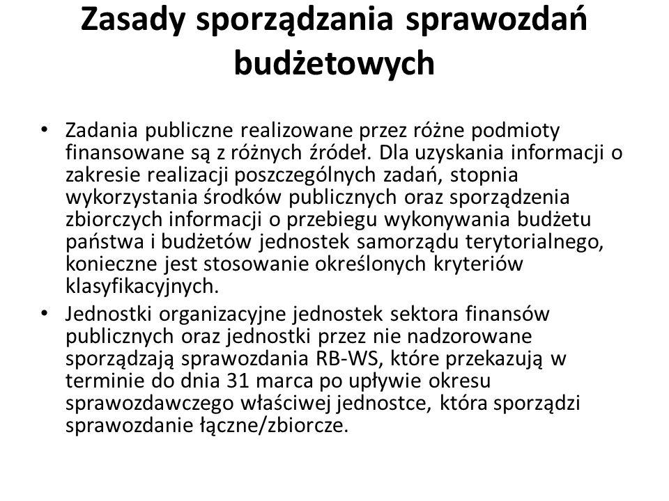 Zasady sporządzania sprawozdań budżetowych