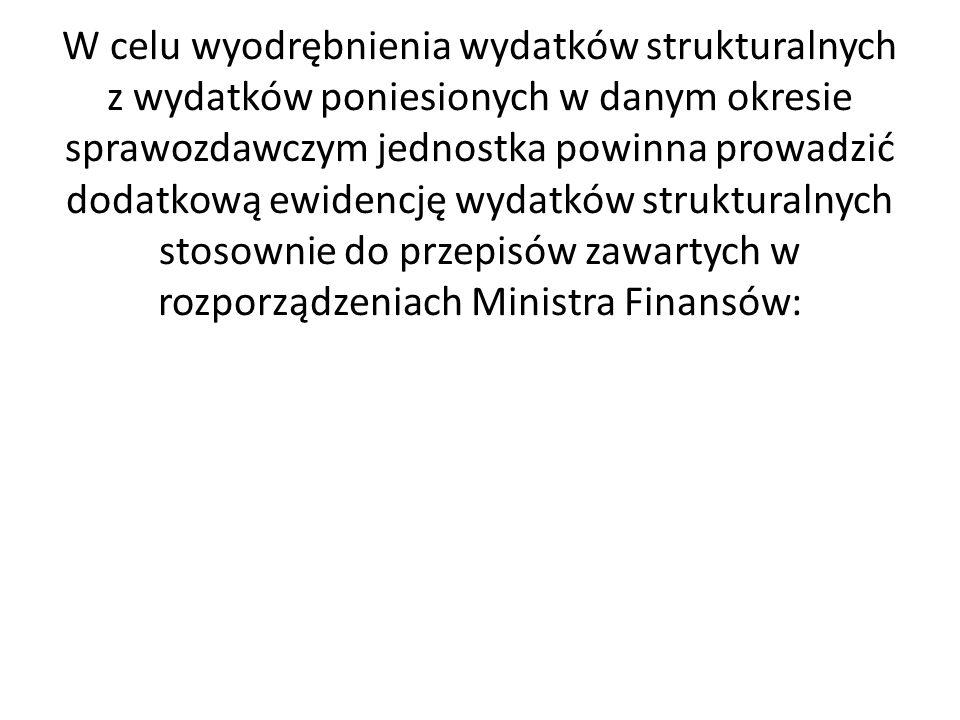 W celu wyodrębnienia wydatków strukturalnych z wydatków poniesionych w danym okresie sprawozdawczym jednostka powinna prowadzić dodatkową ewidencję wydatków strukturalnych stosownie do przepisów zawartych w rozporządzeniach Ministra Finansów: