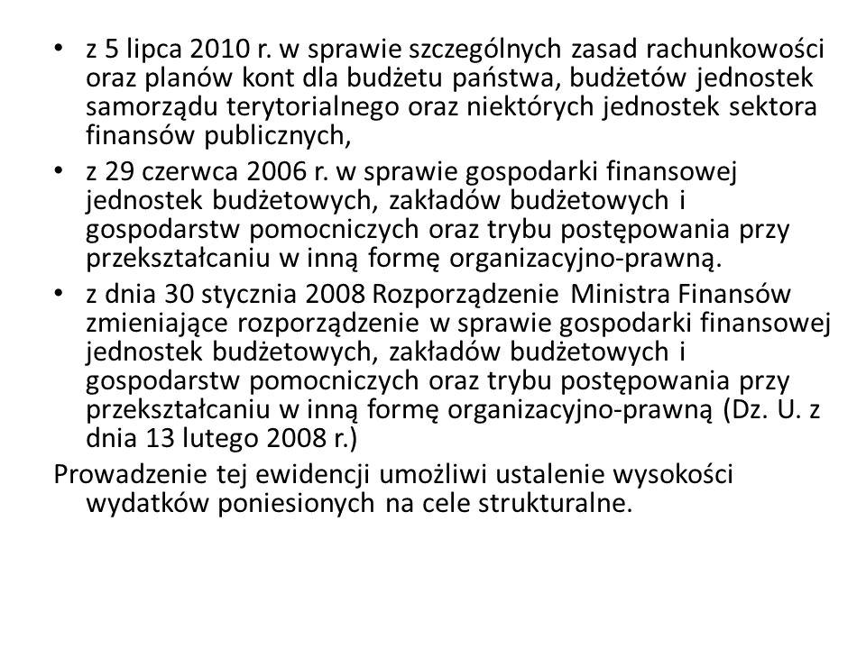 z 5 lipca 2010 r. w sprawie szczególnych zasad rachunkowości oraz planów kont dla budżetu państwa, budżetów jednostek samorządu terytorialnego oraz niektórych jednostek sektora finansów publicznych,