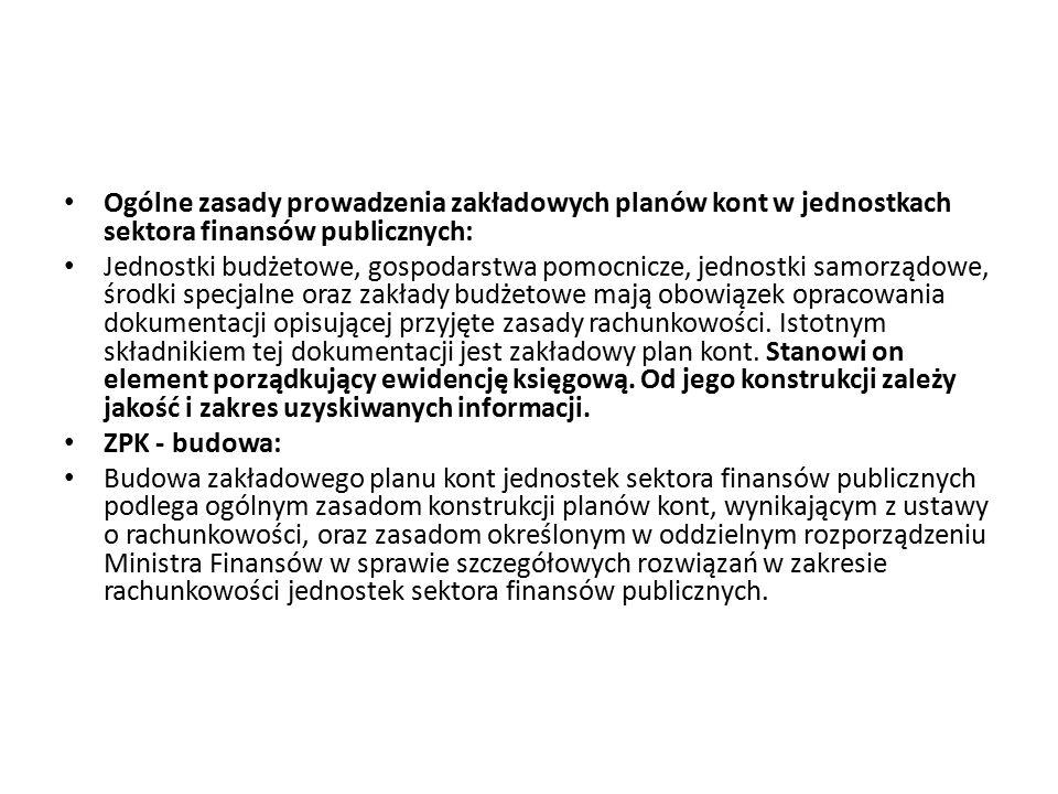 Ogólne zasady prowadzenia zakładowych planów kont w jednostkach sektora finansów publicznych: