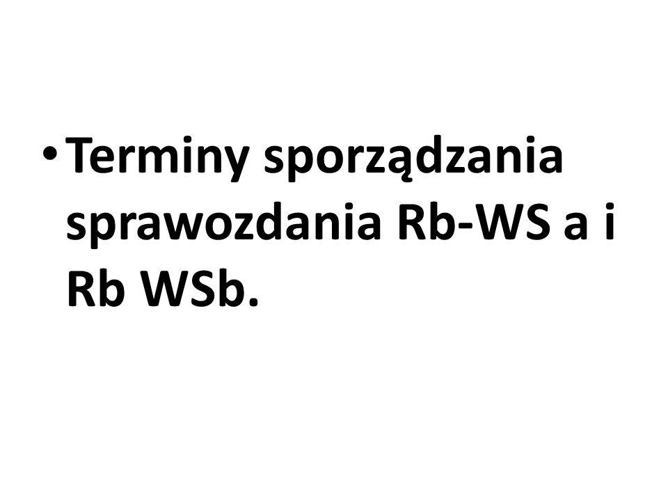 Terminy sporządzania sprawozdania Rb-WS a i Rb WSb.