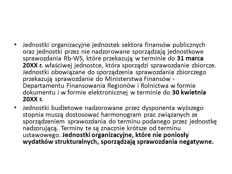 Jednostki organizacyjne jednostek sektora finansów publicznych oraz jednostki przez nie nadzorowane sporządzają jednostkowe sprawozdania Rb-WS, które przekazują w terminie do 31 marca 20XX r. właściwej jednostce, która sporządzi sprawozdanie zbiorcze. Jednostki obowiązane do sporządzenia sprawozdania zbiorczego przekazują sprawozdanie do Ministerstwa Finansów - Departamentu Finansowania Regionów i Rolnictwa w formie dokumentu i w formie elektronicznej w terminie do 30 kwietnia 20XX r.