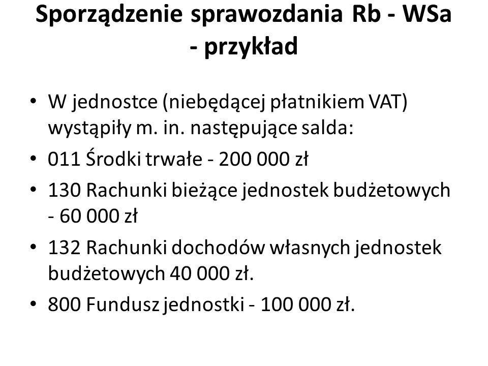 Sporządzenie sprawozdania Rb - WSa - przykład