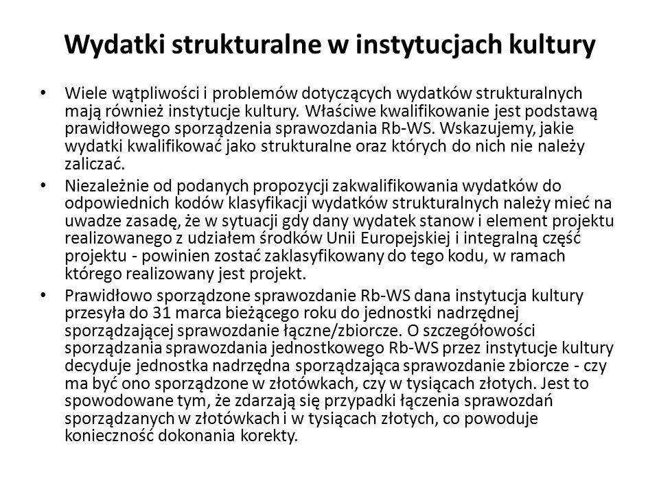 Wydatki strukturalne w instytucjach kultury