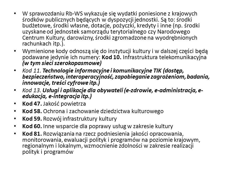 W sprawozdaniu Rb-WS wykazuje się wydatki poniesione z krajowych środków publicznych będących w dyspozycji jednostki. Są to: środki budżetowe, środki własne, dotacje, pożyczki, kredyty i inne (np. środki uzyskane od jednostek samorządu terytorialnego czy Narodowego Centrum Kultury, darowizny, środki zgromadzone na wyodrębnionych rachunkach itp.).