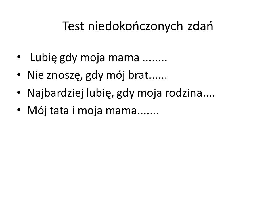 Test niedokończonych zdań