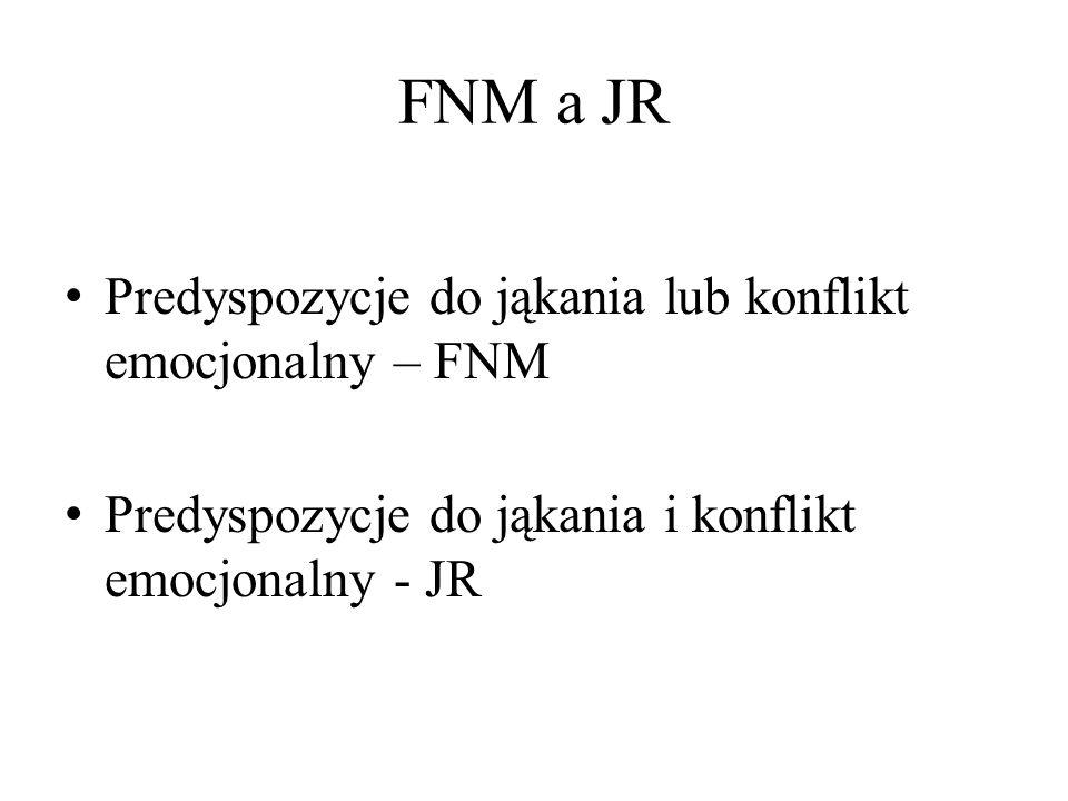 FNM a JR Predyspozycje do jąkania lub konflikt emocjonalny – FNM
