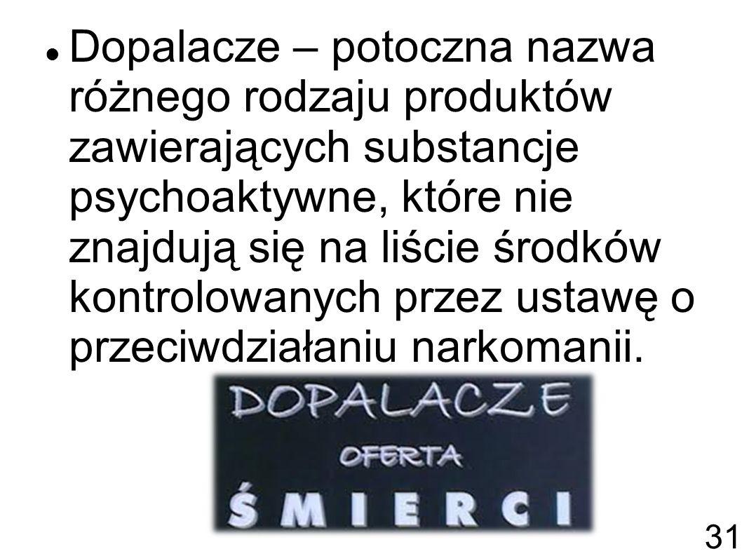 Dopalacze – potoczna nazwa różnego rodzaju produktów zawierających substancje psychoaktywne, które nie znajdują się na liście środków kontrolowanych przez ustawę o przeciwdziałaniu narkomanii.