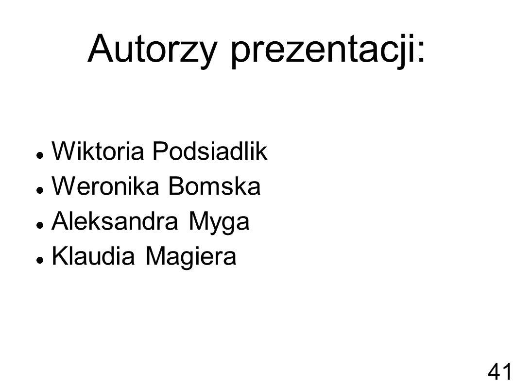 Autorzy prezentacji: Wiktoria Podsiadlik Weronika Bomska